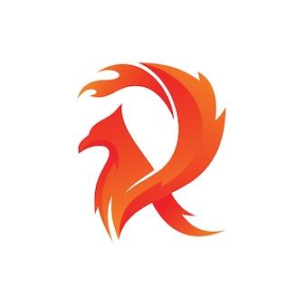Letra r fogo pássaro logo vector