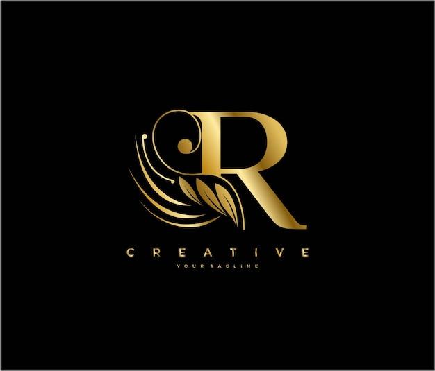 Letra r inicial, luxo, beleza, ornamento, logotipo dourado com monograma