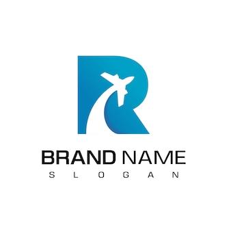 Letra r, logotipo de turismo e viagens