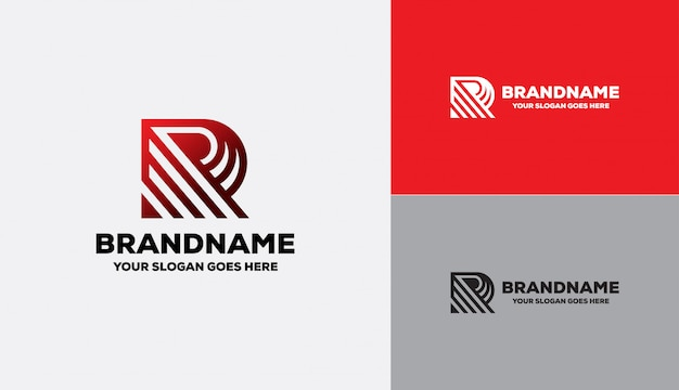 Letra r logotipo forma geométrica