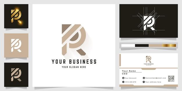 Letra r ou logotipo do monograma pr com design de cartão de visita