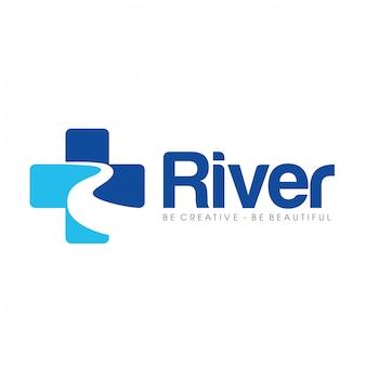 Letra r para cuidados com a saúde do rio e médico logo