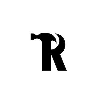 Letra r projeto do logotipo do martelo para construção, manufatura e reparos