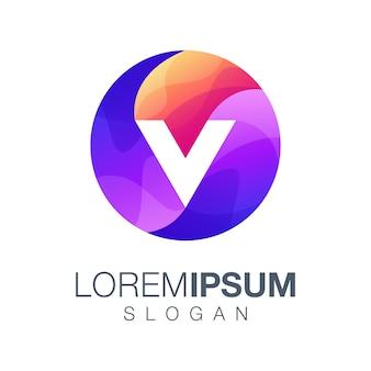 Letra redonda v logotipo de cor gradiente