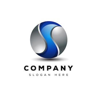 Letra s 3d globo logotipo design pronto para usar