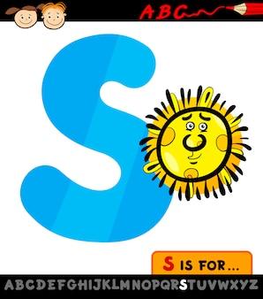 Letra s com a ilustração dos desenhos animados do sol