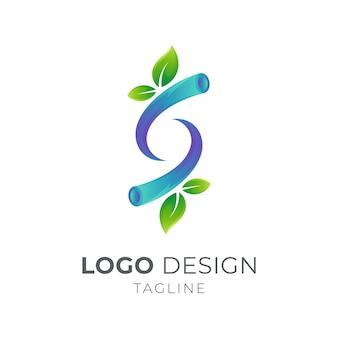 Letra s com conceito de logotipo de ramos de folha