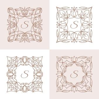 Letra s com modelo de logotipo floral