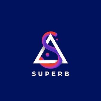 Letra s curva de mistura abstrata. excelente sinal ou modelo de logotipo. linha curva elegante com gradiente ultravioleta e tipografia moderna. fundo azul escuro