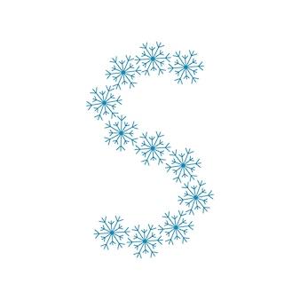 Letra s de flocos de neve. fonte ou decoração festiva para o ano novo e o natal