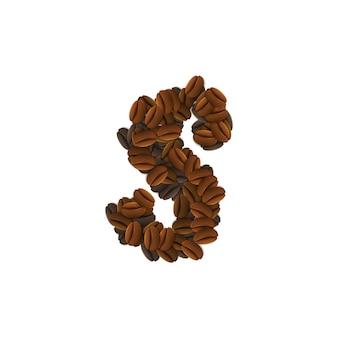 Letra s de grãos de café