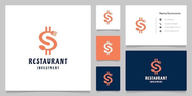 Letra s dólar com colher e garfo restaurante investimento logotipo design ilustração