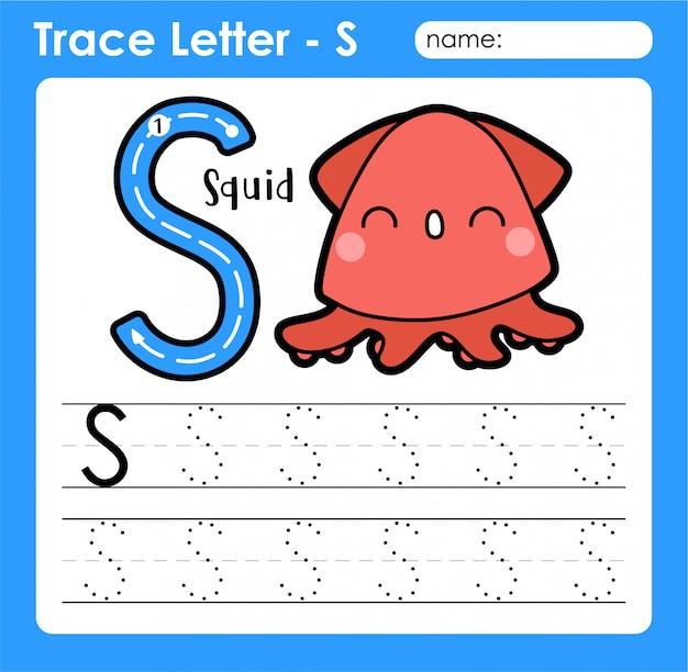 Letra s maiúscula - planilha de rastreamento de letras do alfabeto com lula