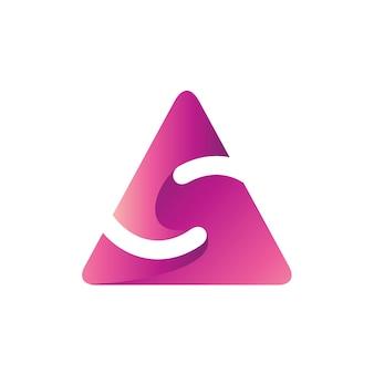 Letra s no modelo de logotipo de forma de triângulo