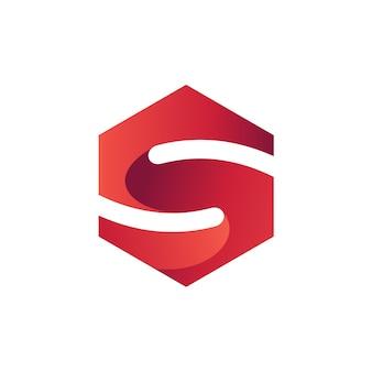 Letra s no modelo de logotipo de forma hexagonal
