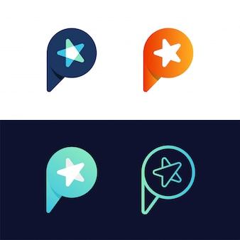 Letra simples do círculo p com logotipo da estrela no centro.