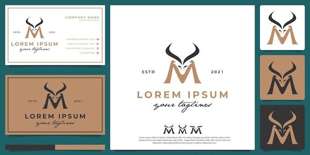 Letra simples m logotipo do antílope m para mamíferos