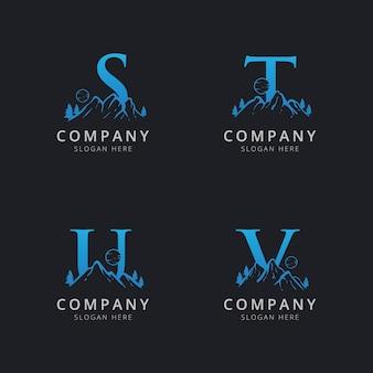 Letra stu e v com modelo de logotipo de montanha abstrato