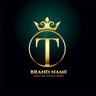 Letra t e crescido modelo de conceito de logotipo dourado