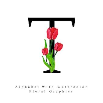 Letra t fundo floral aquarela