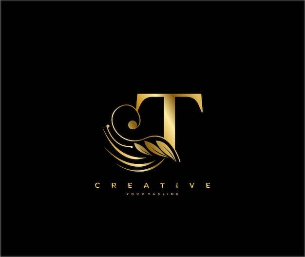 Letra t inicial, luxo, beleza, ornamento, logotipo dourado com monograma