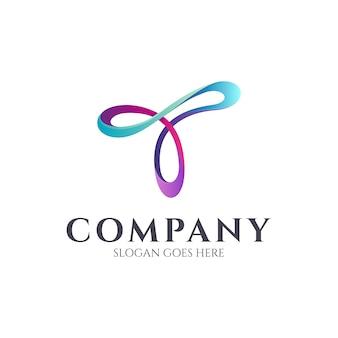 Letra t linha arte logotipo