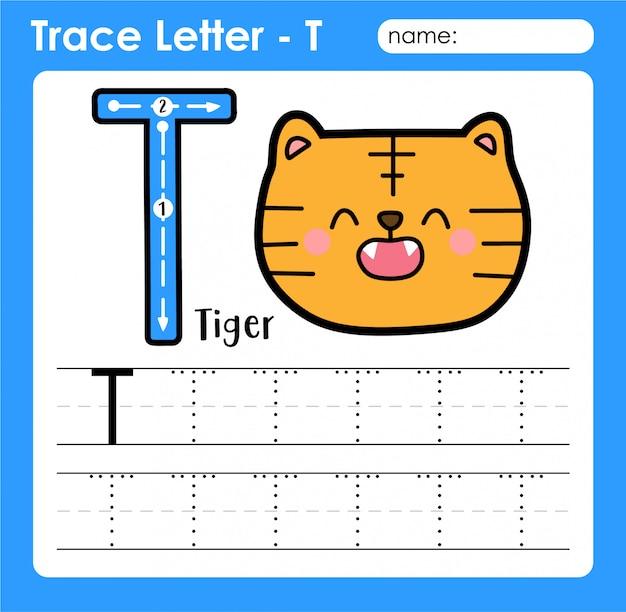 Letra t maiúscula - planilha de rastreamento de letras do alfabeto com tigrão