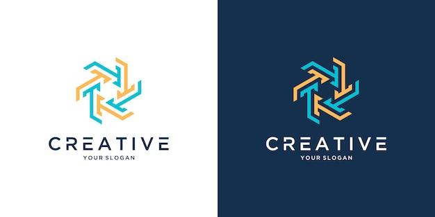 Letra t modelo de design de ícone de logotipo criativo