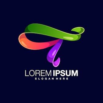 Letra t modelo de design de logotipo colorido