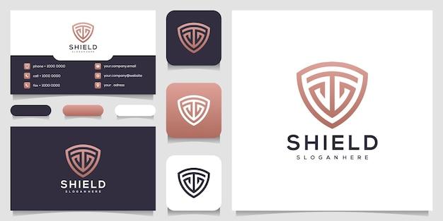 Letra t moderna com cartão de visita de design de logotipo de escudo