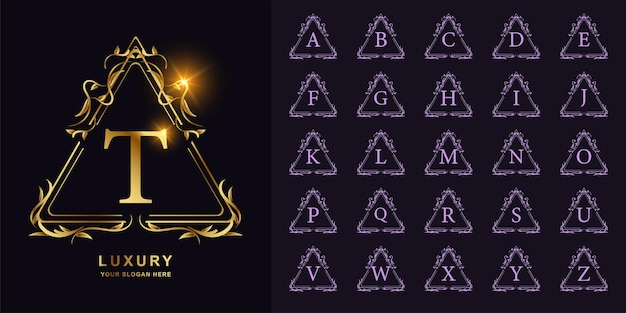 Letra t ou alfabeto inicial de coleção com modelo de logotipo dourado moldura floral ornamento de luxo.