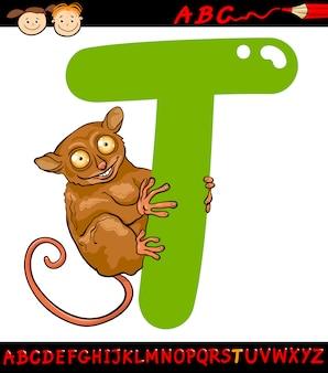 Letra t para ilustração de desenhos animados tarsier