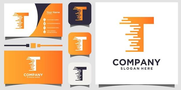 Letra t para vetor de design de logotipo de tecnologia com fundo de modelo de cartão de visita
