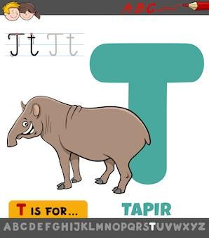 Letra t planilha educacional com animal de anta dos desenhos animados