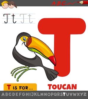 Letra t planilha educacional com pássaro tucano dos desenhos animados