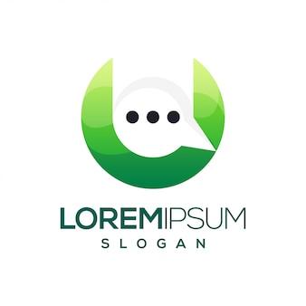 Letra u bate-papo logotipo gradiente colorido