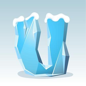 Letra u de gelo com neve no topo, fonte de vetor