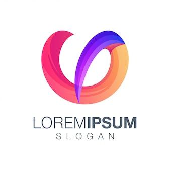 Letra u gradiente cor logotipo