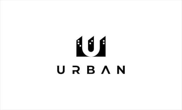 Letra u ilustração de desenho vetorial de logotipo de edifício urbano