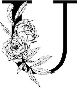 Letra u. monograma de casamento do alfabeto botânico fow