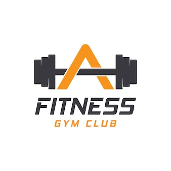 Letra um logotipo com barra. logotipo do ginásio de fitness. design de logotipo de vetor de aptidão para ginásio e fitness.
