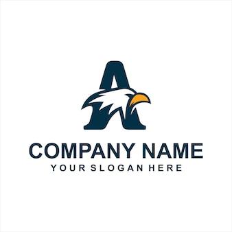 Letra um vetor de logotipo de águia