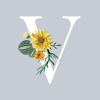 Letra v com flores