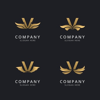 Letra v com modelo de logotipo de asa abstrata de luxo