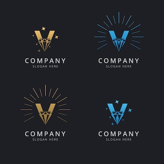 Letra v com modelo de logotipo de diamante abstrato de luxo