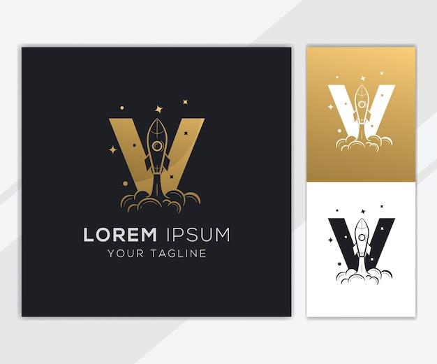 Letra v com modelo de logotipo de foguete abstrato de luxo
