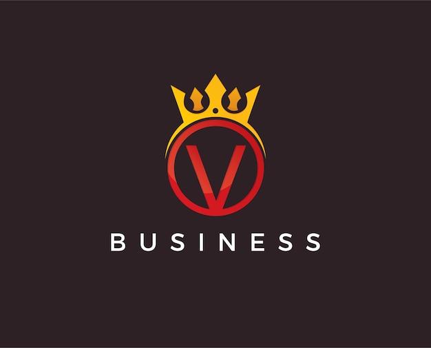 Letra v coroa modelo de logotipo