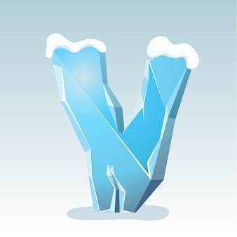 Letra v de gelo com neve no topo, fonte de vetor