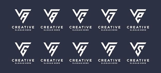 Letra v em forma de triângulo combinada com outros designs de logotipo de monograma.