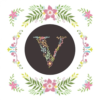 Letra v inicial com vetor floral